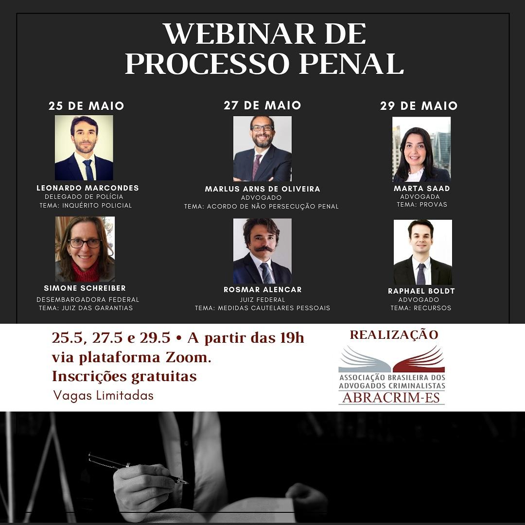 Webinar sobre Processo Penal tem a participação do Advogado Marlus Arns de Oliveira